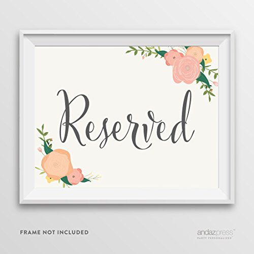 Andaz Press Wedding Party Signs, Floral Roses Print, 8.5-inch x 11-inch, Reserved, 1-Pack, Unframed