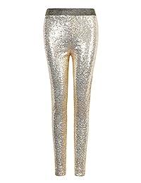Lanlan Women Fashion Shiny Sequin Stretch Underwear Skinny Legging Tight Pant