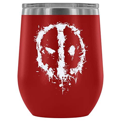 Steel Stemless Wine Glass Tumbler, Deadpool Logo Vacuum Insulated Wine Tumbler, Deadpool Comics Wine Tumbler (Wine Tumbler 12Oz - Red)