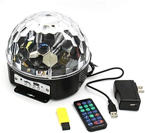 ステージライト LEDリモートコントロールのサウンド活性化ステージライト付きのBluetoothスピーカーUSBフラッシュカード5VのUSB電源インターフェースステージライト9色6色回転マジックボールランプ (Size : D)