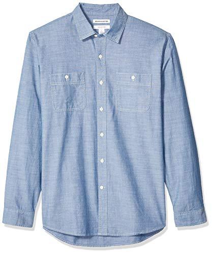 (Amazon Essentials Men's Standard Regular-Fit Long-Sleeve Chambray Shirt, Medium Blue, XX-Large)