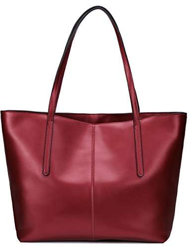 Covelin Women's Handbag Genuine Leather Tote Shoulder Bags Soft Hot Wine red Zippered Faux Leather Purse