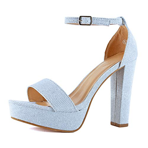- Womens Platform Ankle Strap High Heel - Open Toe Sandal Pump - Formal Party Chunky Dress Heel Sandals (6 M US, Silver Glitter)
