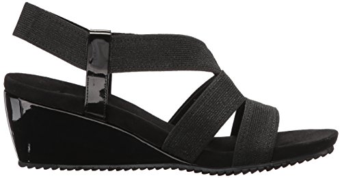 Anne Cabrini Klein Fabric Wedge Women's Black Sandal fEfUwrqd