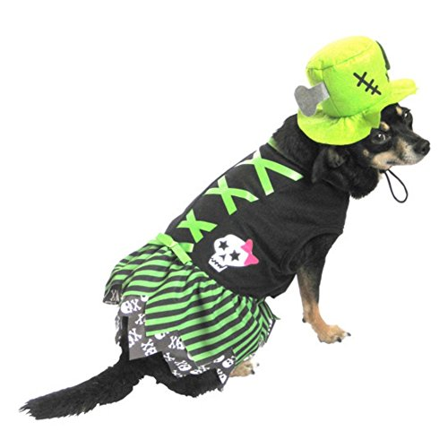 Witch Dog Costume Striped Green Pet Outfit with Hat M