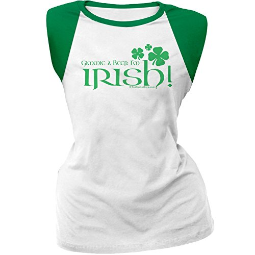 Beer Womens Cap Sleeve T-shirt - Old Glory ST. Patricks Day - Gimmie A Beer I'm Irish White/Green Cap-Sleeve Raglan T-Shirt - 2X-Large