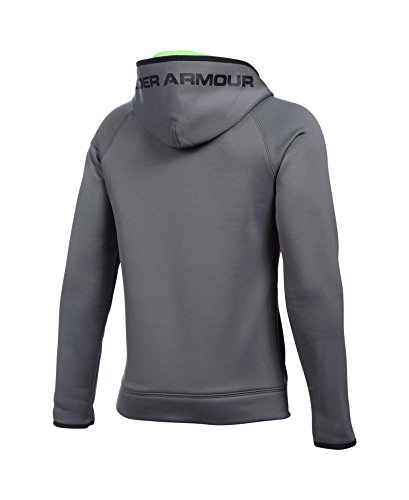 Under Armour Boys' Storm Armour Fleece Highlight Big Logo Hoodie, Graphite/Fuel Green, Youth X-Small by Under Armour (Image #1)