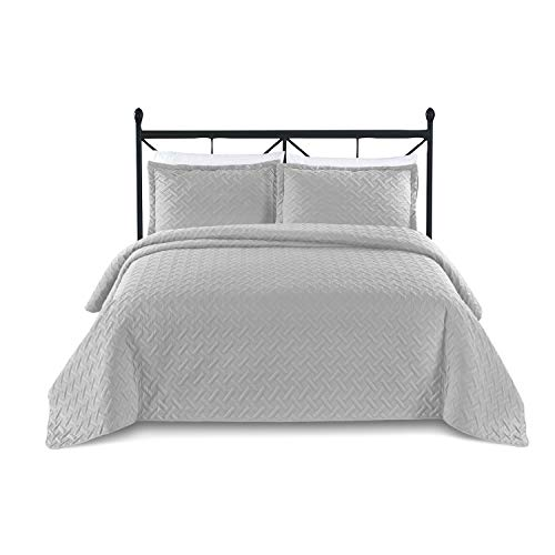 BASIC CHOICE 3-Piece Oversized Quilted Bedspread Coverlet Set - Weave/Silver Gray, King/California King