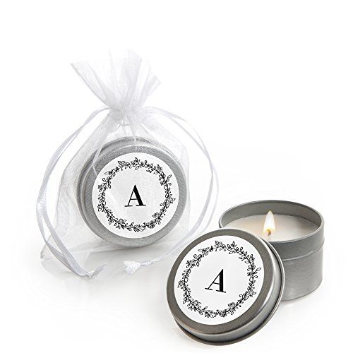 Big Dot of Happiness Custom Floral Monogram - Personalized Wedding Favors Candle Tins - Set of 12