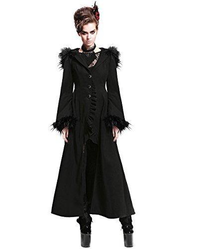 Devil Fashion Cruella Abrigo Mujer Chaqueta Larga Negro Gótico Con capucha Adorno De Pelo VINTAGE: Amazon.es: Ropa y accesorios