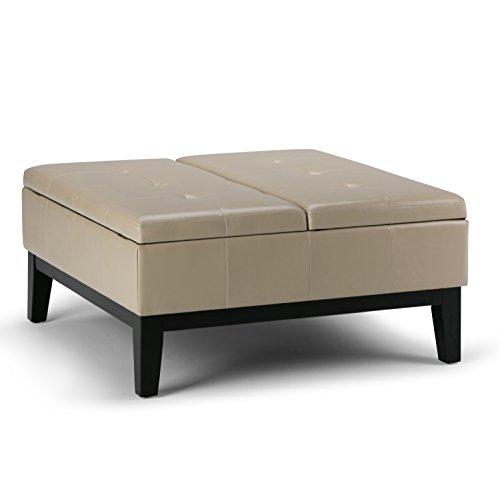 (Simpli Home AXCOT-235-CR Dover 36 inch Wide Contemporary Square Storage Ottoman in Satin Cream Faux Leather)