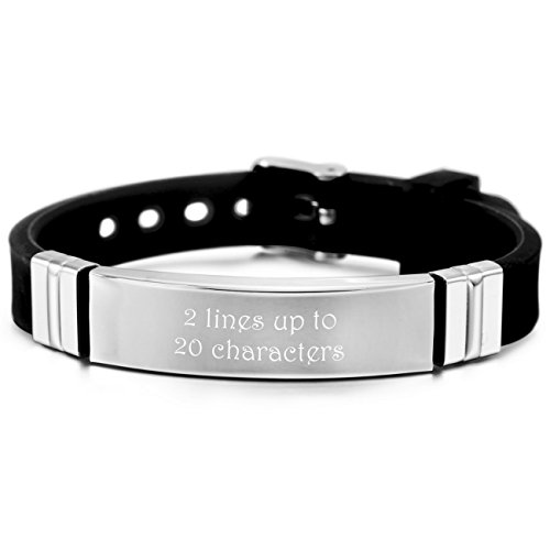 Customized Silver Bracelets (MeMeDIY Silver Tone Black Stainless Steel Rubber Bracelet Bangle Adjustable - Customized Engraving)