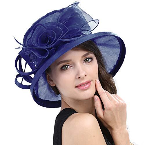 Original One Women's Kentucky Derby Tea Party Dress Church Fascinators Fancy Hats (Navy Blue) (Dress Hats For Church)