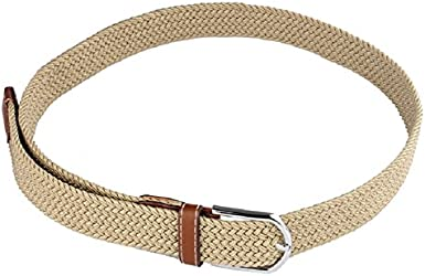 Tonsee Cool Men Leather Braided Elastic Stretch Metal Buckle Belt Waistband