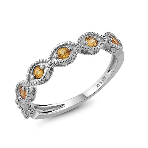 Beautiful-Natural-Yellow-Sapphire-925-Sterling-Silver-Ladies-Anniversary-Wedding-Band-Ring-Available-in-size-5-6-7-8-9