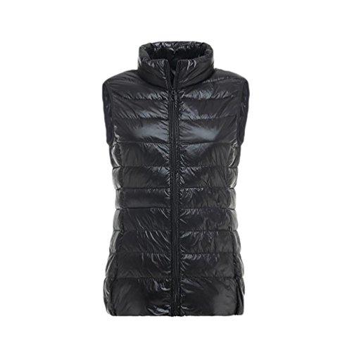 YOUJIA Ligero Chalecos exteriores para Mujeres - Chaqueta de pluma - Cálido Abrigo de Invierno Negro