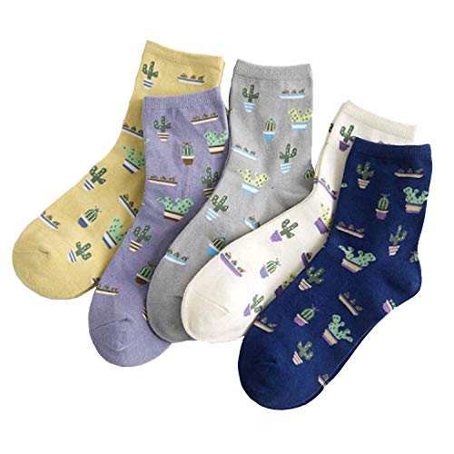 Crew Socks, 5-pack Women Cacti Parttern Casual Socks Cotton Knitting Lovely/Cute Crew Socks(5 Pack Cactus) -