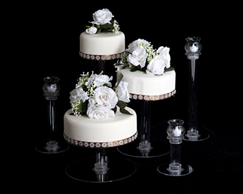3 Tier Cascade Wedding Cake Stand with 3 Votive Candle Set (STYLE R305) ()