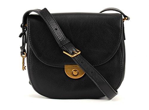 Emi Saddle Bag Schwarz ZB6851-001 Damen Handtasche Umhänge Tasche Schultertasche Umhängetasche Partytasche Leder Fossil nbWkrV