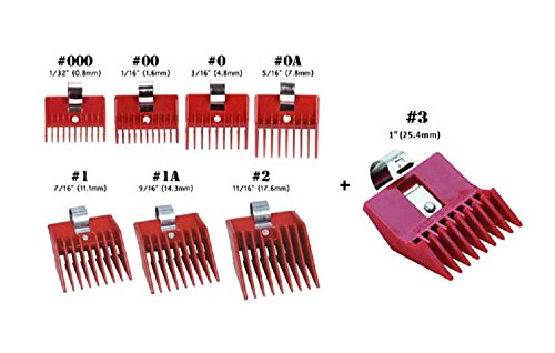 8pc Speed O Guide Universal Clipper Comb Attachments 8 Diff Size Set (No. 000, No. 00 No. 0, No. 0a, No. 1, No. 1a, No. 2, No. 3)