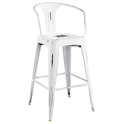 Cheap Modway EEI-2817-WHI Promenade Modern Aluminum Bistro Bar Stool with Arms, White