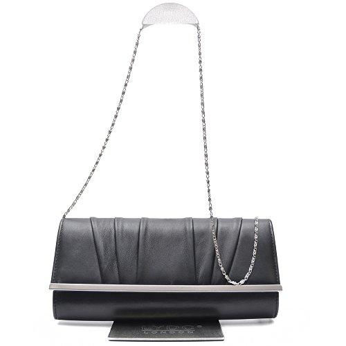 Vain Secrets Damen Umhänge Tasche Abendtaschen Clutch in Schwarz Matt Schwarz gV0rSO