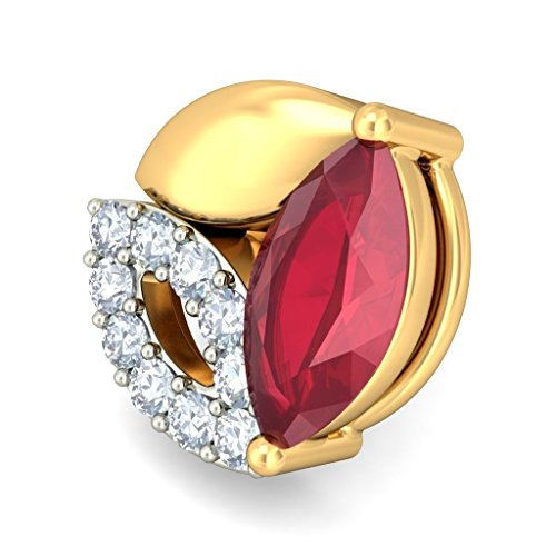 14K Or jaune 0.12CT TW White-diamond (IJ | SI) et rubis Boucles d'oreille à tige