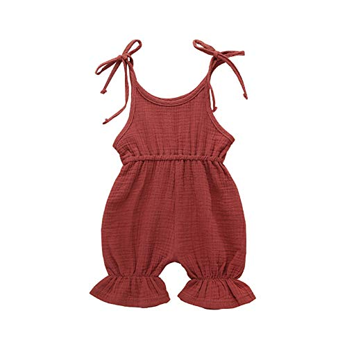 Trendypie Infant Baby Cotton Romper Solid Ruffled Strap Jumpsuit Trousers Summer Sleeveless Halter Bodysuit Sunsuit Onesie Outfit Clothes Overalls 0-24M