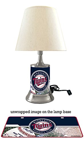 JS Twins Table Lamp with Shade, Your Favorite Team Plate Rolled in on The lamp Base, Minnesota T, MLB