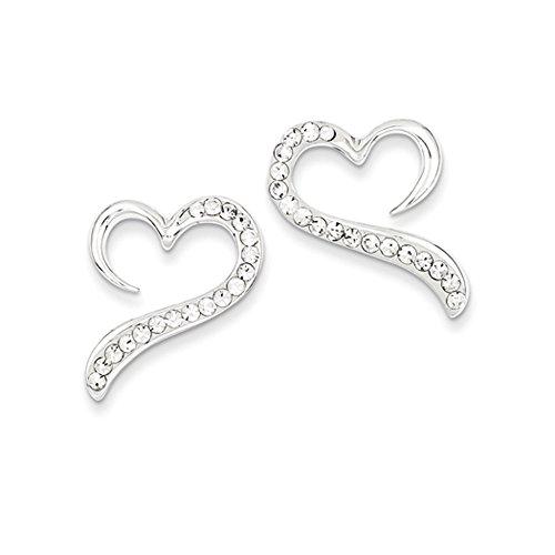 Crystal Open Heart Post Earrings in Sterling (20mm Open Heart Ring)