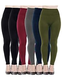 Diravo Fleece Lined Leggings for Women High Waist-Stretch Leggings Pants Thick Black