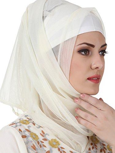 Mybatua Zaeemah Net & Crepe Off White Muslim Kleid Abaya AY-441