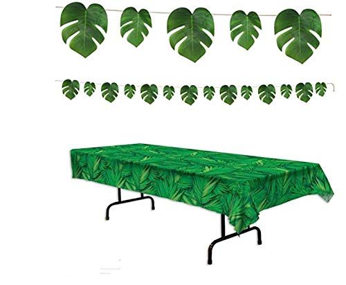 - FAKKOS Design Fiesta Party Supplies Luau Palm Leaf Jungle Theme Decorations Inclugin Large Streamer and Table Cover