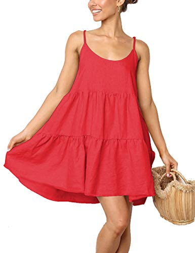 Spaghetti Strap Dress Mini Short Flowy Skater Dresses for Women Maxi Dress(Red,XL)