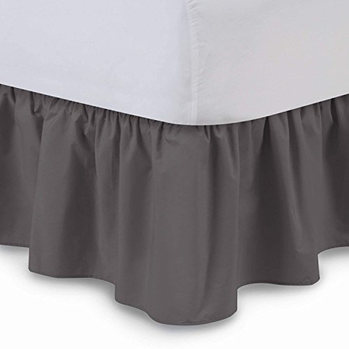 Hunter Ruffled Bedskirt - Linenwala Ruffled Bed Skirt (Queen, Dove Grey) 14 Inch Drop Dust Ruffle with Platform, Wrinkle and Fade Resistant (Available in All Bed Sizes and 16 Colors)