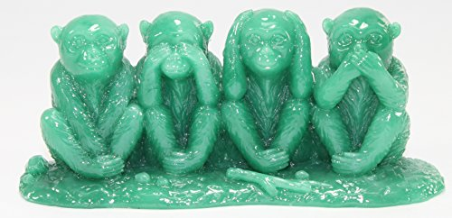 No Evil, Hear No Evil, Speak No Evil Monkey 4 Wise Monkeys Figurine Statue Wealth Lucky Figurine Home Decor Gift US Seller (Monkey See No Evil Hear No Evil)