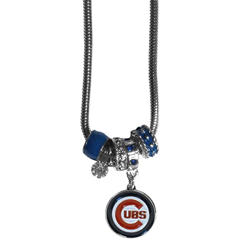 MLB Chicago Cubs Women's Euro Bead Necklace, Blue