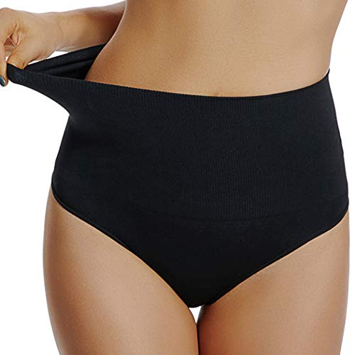 High Waist Thong Tummy Control Underwear Shaping Panties for Women Slimming Body Shaper Gridle (Black, S)
