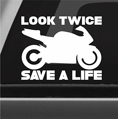 Amazoncom Look Twice Save A Life Vinyl Decal Bumper Sticker - Custom motorcycle bumper stickers awareness