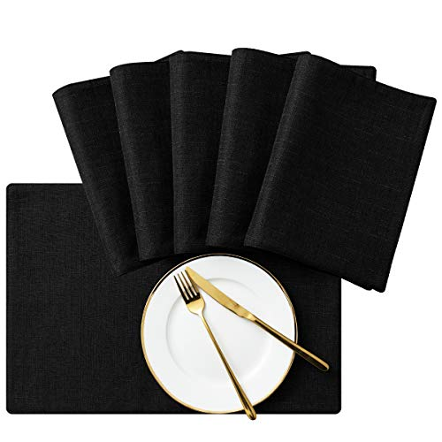SyMax Table Placemats Linen Set of 6 Heat Resistant Fabric Table Mats Washable Table Runner for Dining Room,Party(Black, 6pcs) ()