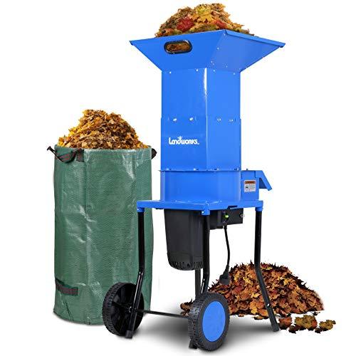 Landworks Trituradora trituradora de hojas Trituradora eléctrica para manejo de desechos y residuos, 120 V CA, 11 pulgadas, hoja de corte, capacidad de corte de 5 pulgadas para hojas, césped y recortes