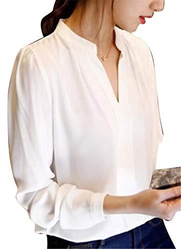 (Jotebriyo Women's Chiffon Long Sleeve Work Stand Collar Pure Color Top T-Shirt Blouse White M)
