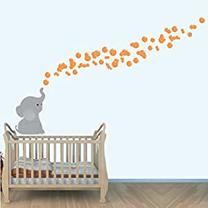 Orange Wall Decal for Nursery, Elephant Bubbles Stickers, Kids Bedroom Décor