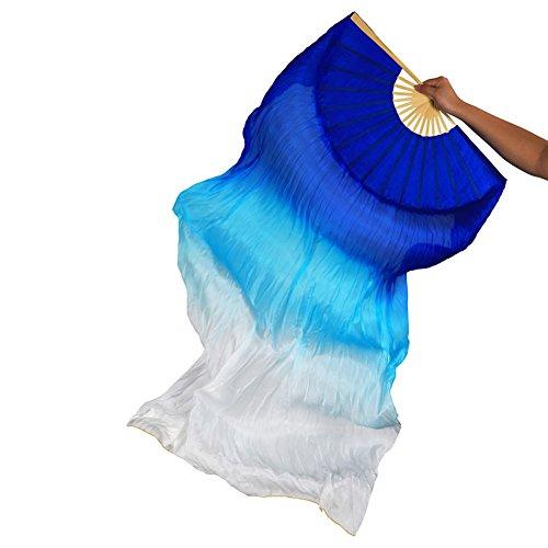 Women 1 Pair 100% Silk Long Belly Dance Bamboo Fans Veils (Blue Turquoise White) -
