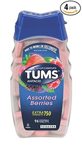 Tums E-X Extra Strength Antacid Chewable Tablets, Berries, 96-Count Bottles (Pack of 4) by TUMS ()