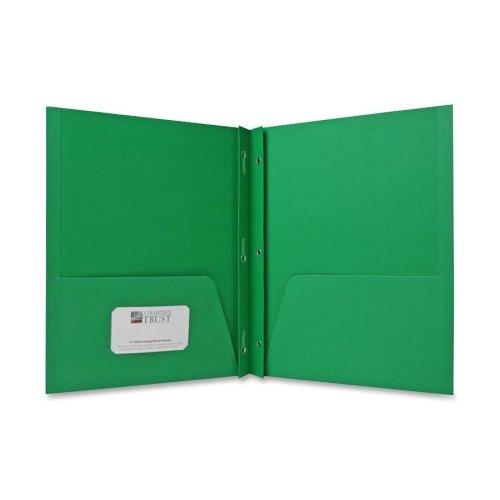 Wholesale CASE of 15 - Sparco 2-Pocket Folders w/ Fasteners-2-Pocket Folders,w/Fasteners,1/2'' Cap,Letter,25BX,Green