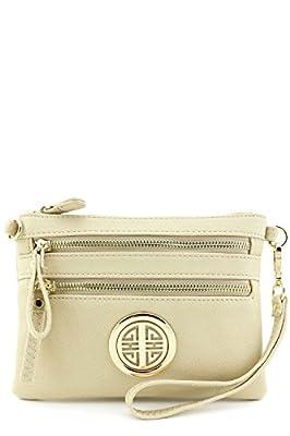 Multi Zipper Pocket Small Wristlet Crossbody Bag with Emblem