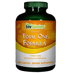 TNVitamins Total 1 Formula- No Iron Multivitamins (250 Tabs)