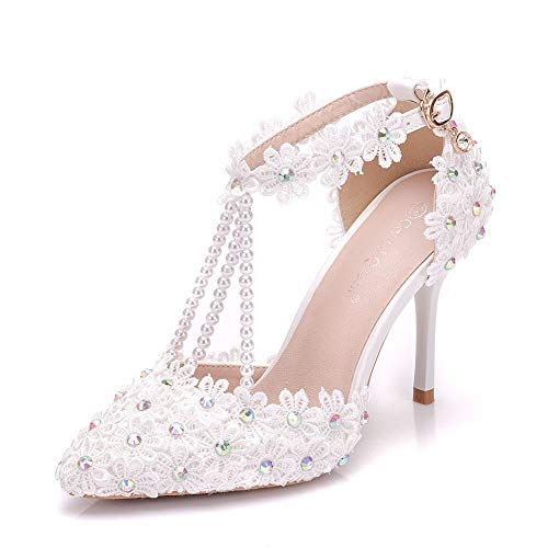 Crystal Queen Women High Heels Sandals White Lace Rhinestone Beading Wedding Shoes Pointed Toe Bridal Shoes (39, White) ()
