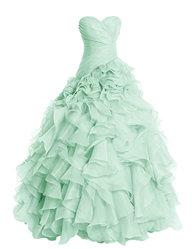 Fanciest Women's Ruffles Organza Ball Gowns Prom Dresses for Quinceanera Apple Green US26W -